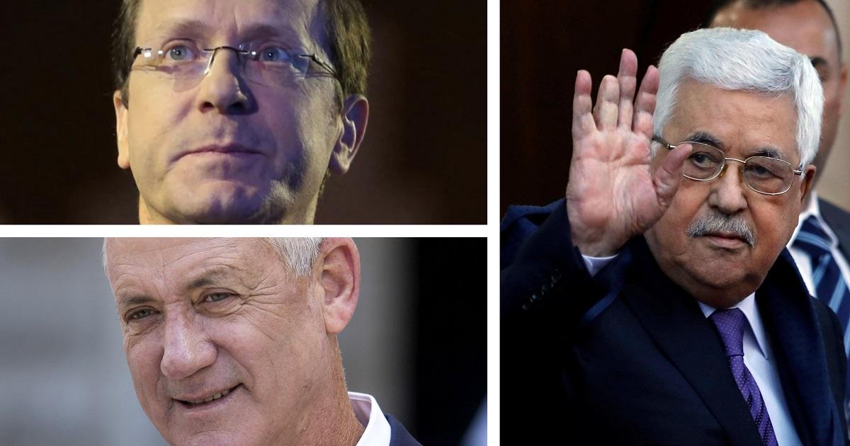 Mahmoud Abbas, Yitzhak Herzog y Benny Gantz