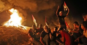 Palestinos en disturbios en Gaza