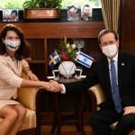 Canciller de Suecia Ann Linde se reúne con el presidente de Israel, Yitzhak Herzog