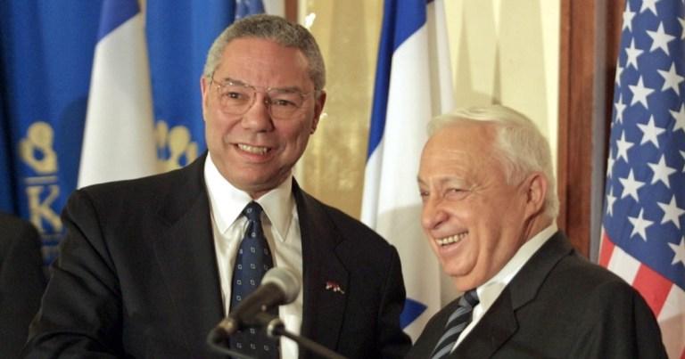 Colin Powell y Ariel Sharon