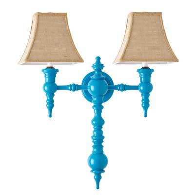Dunes and Duchess Blue Two-Arm Sconce