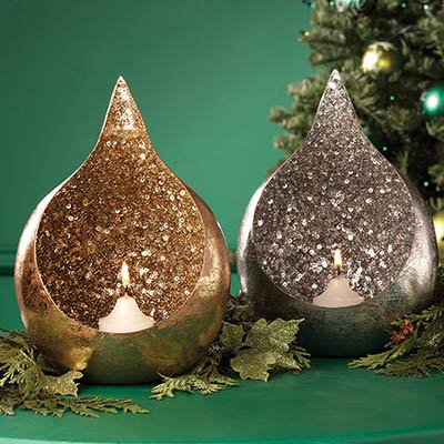 Two's Company: Large Glitter tealight candleholders