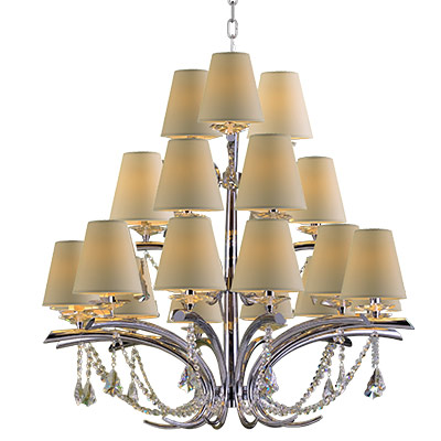 Starfire Crystal: three-tier, 21-light chandelier