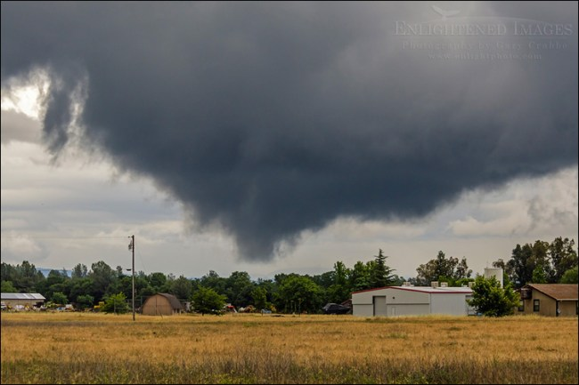 Image: Severe storm clouds with rotating funnel cloud base, Redding, Shasta County, California