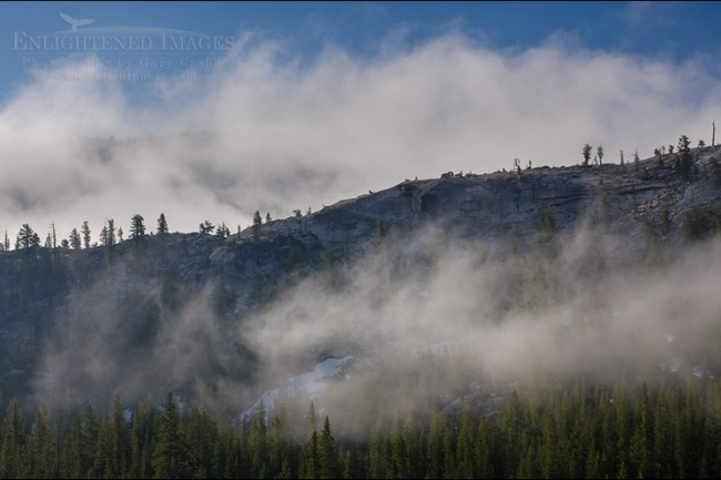 Image: Clearing clouds over mountain ridges, Yosemite National Park, California