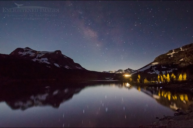 Image: Milky Way stars and night sky over Ellery Lake, near Tioga Pass, just outside Yosemite National Park, California