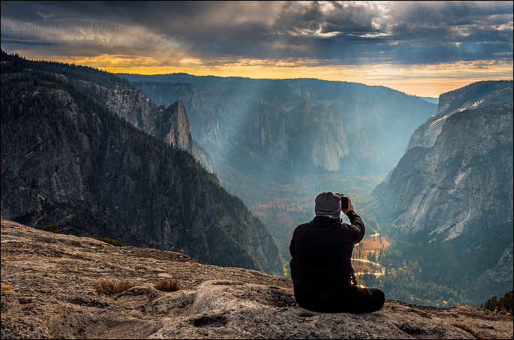 Image: Photographer shooting over Yosemite Valley from North Dome, Yosemite National Park, California