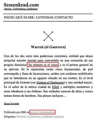 Página de ejemplo del glosario de 'La Perversión Fractal'