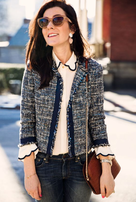 veste en tweed avec jean