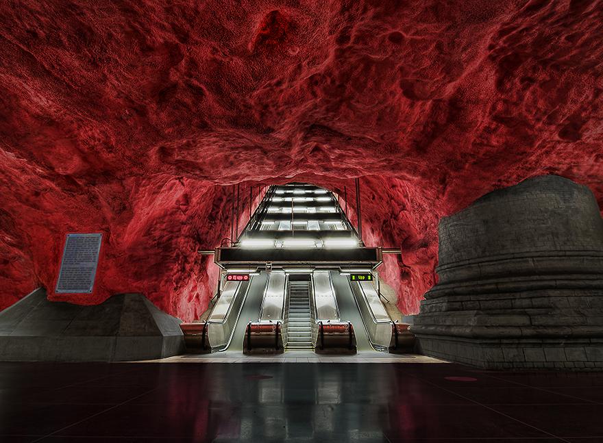 La station Hôtel de Ville, Stockholm, Suède