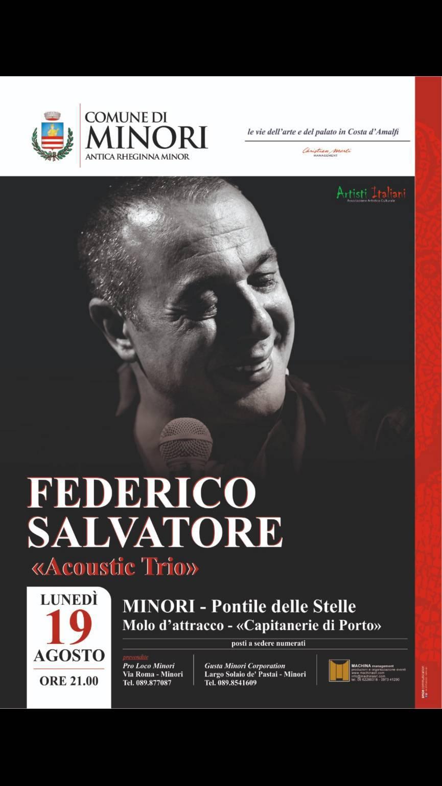 """Federico Salvatore a Minori il 19 Agosto 2019  Molo d'attracco delle guardie costiere"""".  21.00"""