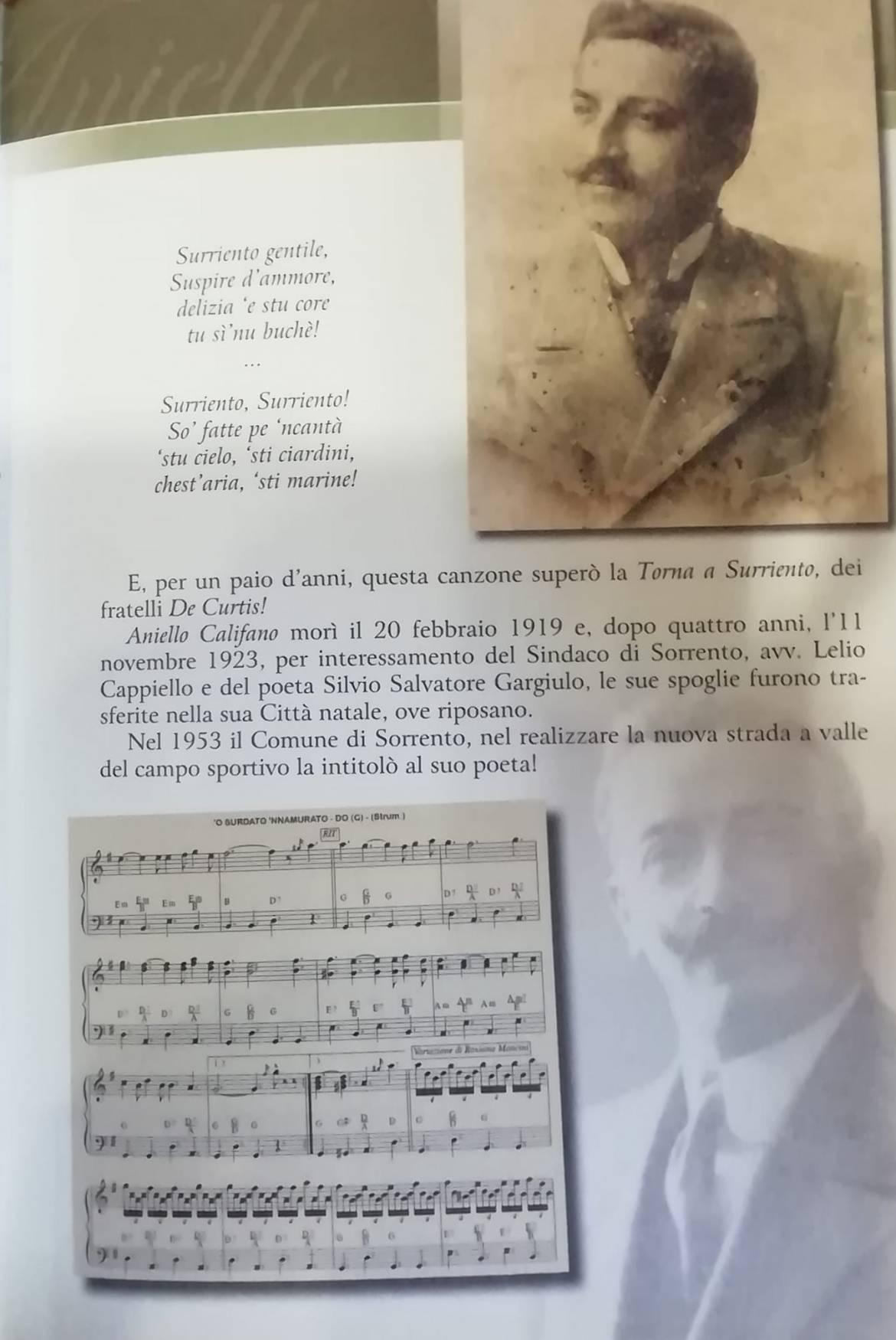 Image may contain: 2 people, text that says 'Surriento gentile, Suspire ammore, delizia stu core tu i'nu buchè! Surriento, Surriento! So' fatte pe 'ncantà 'stu cielo, 'sti ciardini, chest' aria, 'sti marine! paio d'anni, questa canzone superò la Torna Surriento, dei E, per fratelli De Aniello Califano morì il 20 febbraio 1919 e, dopo quattro anni, l'11 novembre 1923, per interessamento del Sindaco Sorrento, avv. Lelio Cappiello del poeta Silvio Salvatore Gargiulo, le sue spoglie furono tra- sferite nella sua Città natale, riposano. 1953 Comune Sorrento, realizzare la nuova strada del campo sportivo la intitolò suo poeta! 'OBURDATO NNAMURATO. 0(G (Strum) valle'