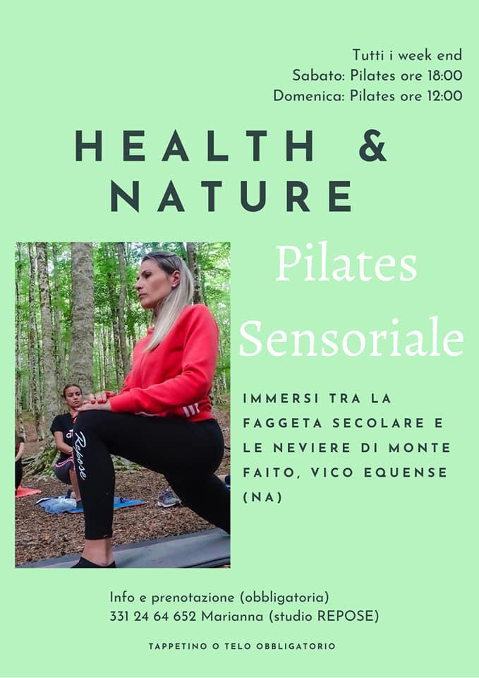 May be an image of 1 person and text that says 'Tutti week end Sabato: Pilates ore 18:00 Domenica: Pilates ore 12:00 & HEALTH NATUR Pilates Sensoriale IMMERSI TRA LA FAGGETA SECOLARE E LE NEVIERE DI MONTE FAITO, VICO EQUENSE (NA) Info e prenotazione (obbligatoria) 331 24 64 652 Marianna (studio REPOSE) TAPPETINO o TELO OBBLIGATORIO'