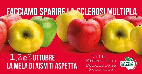 May be an image of apple and text that says 'FACCIAMO SPARIRE SCLEROSI MULTIPLA 1,2e30TTBRE 2e3 OTTOBRE LA MELA DI AISM TI ASPETTA Villa Fiorentino Fondazione Sorrento HAMA LAMEL LAISM'