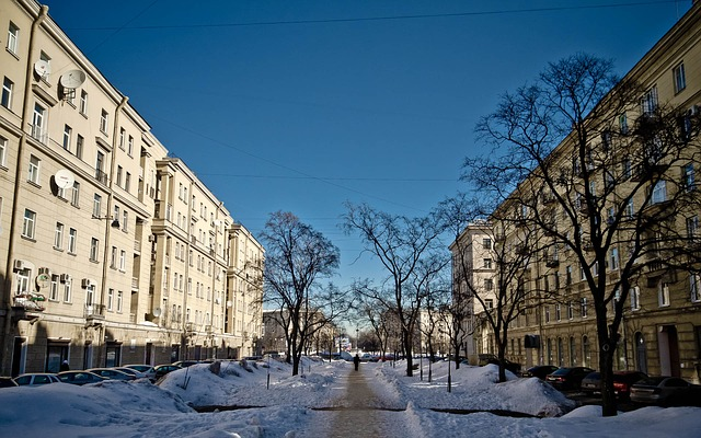 A snowy streetscape in St. Petersburg, Russia.
