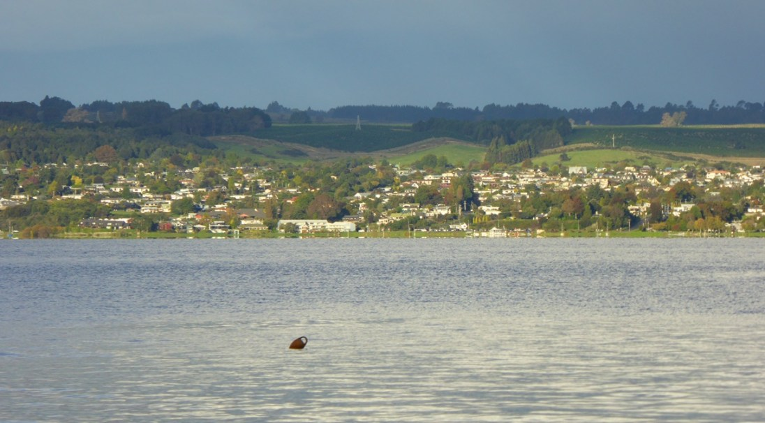 A view of Taupo across Lake Taupo