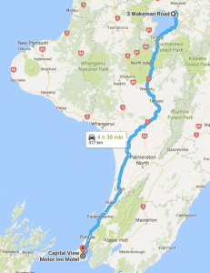Google Map of Auckland to Taupo Route.
