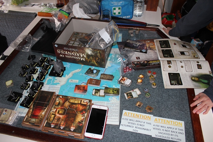 Mansions of Madness game setup.