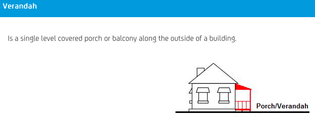 NRMA Building Insurance Calculator definition of a verandah.