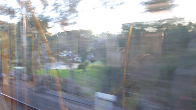 Landscape through a train window.