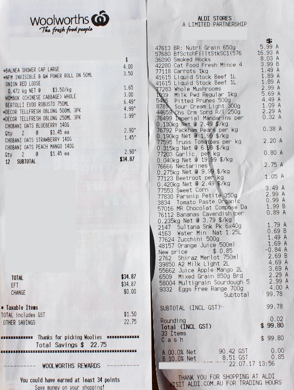 Aldi and Woolworths receipts Week 2.