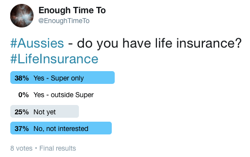 Twitter poll results - no one has life insurance outside of super.