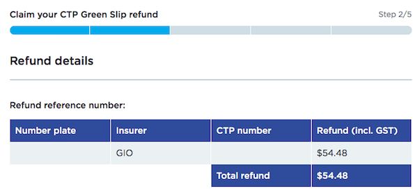 CTP Green Slip Refund $54.48