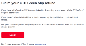 CTP Green Slip Refund Login Screen
