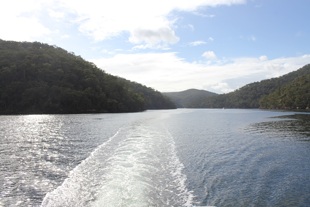 Looking back at the Hawkesbury River from a houseboat.