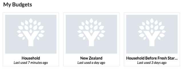 YNAB multiple budgets for household and New Zealand holiday.
