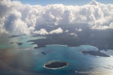 Vue aérienne au départ de l'île des Pins