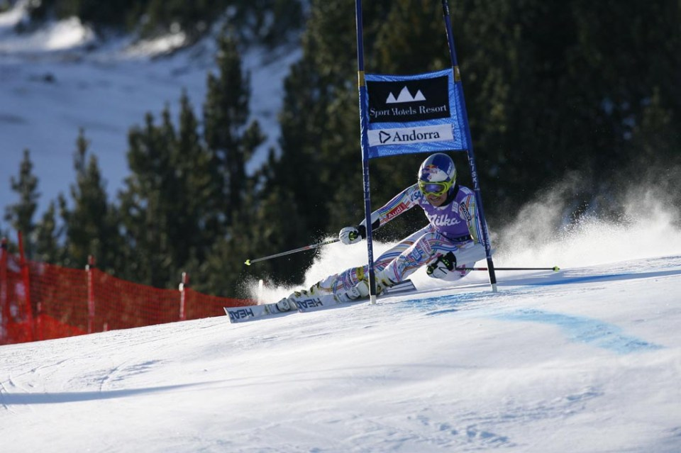Reference : a12-sdwg2-ab-01-0069 Theme : ALPINE Style : ACTION People : WOMEN Discipline : GIANT SLALOM Racer's name : VONN Lindsey Place : SOLDEU (AND) 2012 Event : AUDI FIS ALPINE SKI WORLD CUP 2012 Copyright : Alexis BOICHARD/AGENCE ZOOM