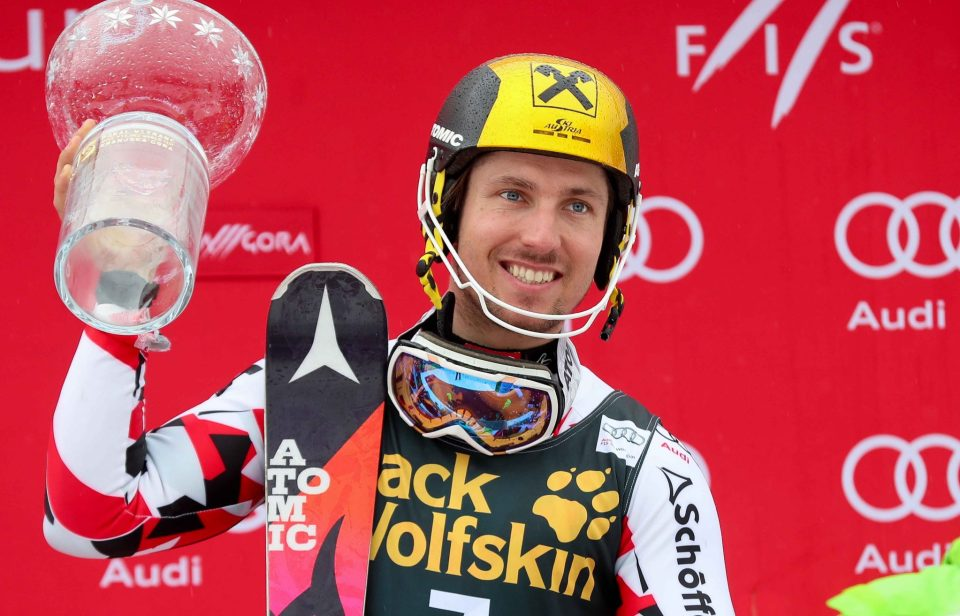 KRANJSKA GORA,SLOVENIA,06.MAR.16 - ALPINE SKIING - FIS World Cup, slalom, men, award ceremony. Image shows the rejoicing of Marcel Hirscher (AUT). Keywords: trophy. Picture shot with a Canon EOS-1D X Mark II sample. Photo: GEPA pictures/ Christian Walgram