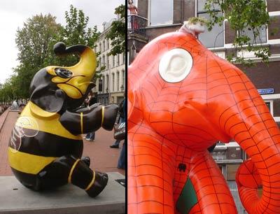 Si, un elefante rollo abeja y otro rollo Spiderman. Genial el detalle del elfantito negro en el pecho.