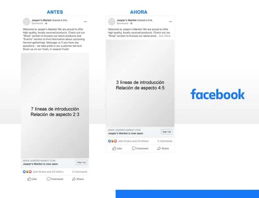Tamaño de anuncios en Facebook