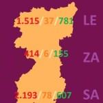 MAPA DATOS REGION LEONESA (Salamanca, Zamora y León) sobre COVID 19 A 12 de abril de 2020