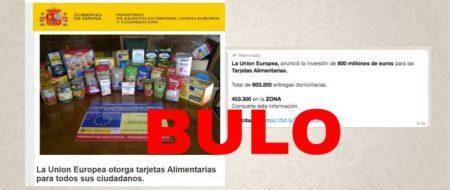Cuidado con la cadena que dice que puedes solicitar una tarjeta alimentaria de la Unión Europea