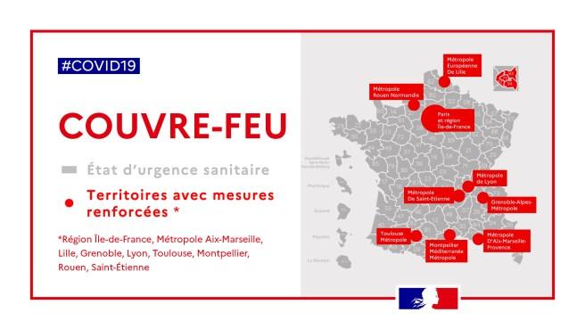 Francia impone el toque de queda en París y otras ocho ciudades a partir de la medianoche de este sábado 17 de octubre 2020.