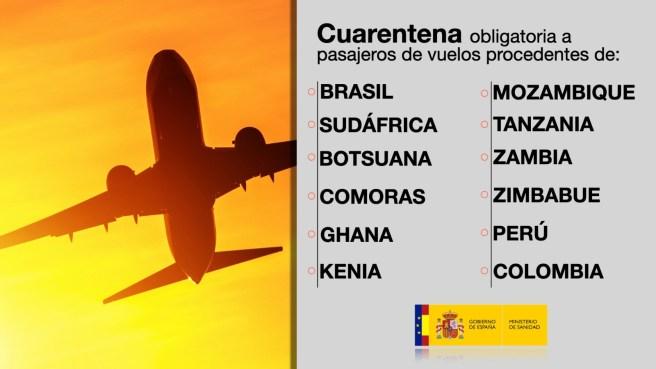 El Gobierno amplía la cuarentena obligatoria a los pasajeros de vuelos procedentes de otros 10 países