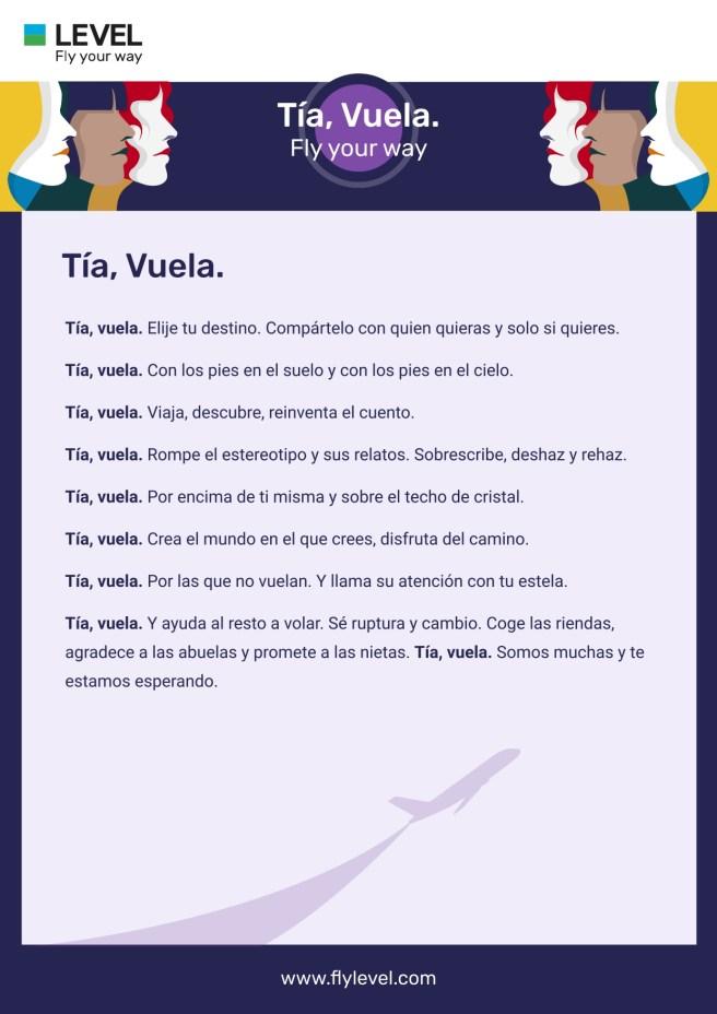 Manifiesto LEVEL TIA VUELA