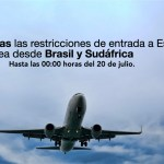 El Gobierno prorroga las limitaciones de entrada a España por vía aérea desde Brasil y Sudáfrica