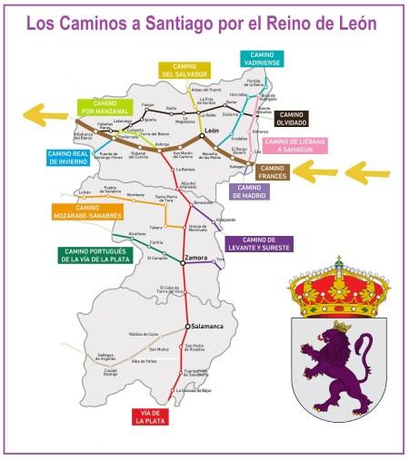 mapa caminos de santiago reino de león