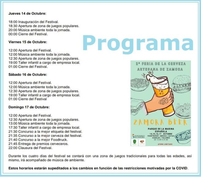 Feria Cerveza 2021 zamora. Programa