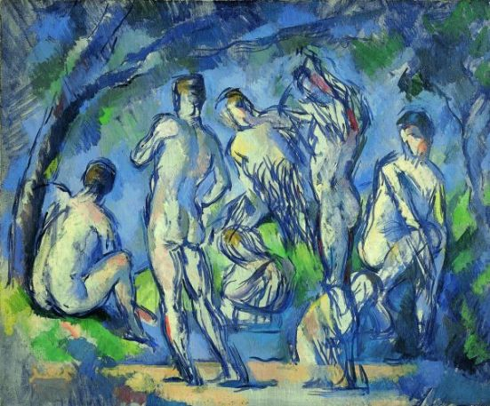 Paul Cézanne, Sept baigneurs, 1900. Huile sur toile, 38 x 46 cm Riehen/Bâle, Fondation Beyeler © Fondation Beyeler, Riehen/Basel / Photo: Christian Baueur, Basel