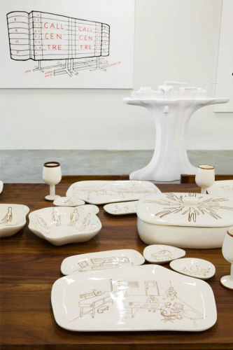 Atelier Van Lieshout, Table with mexican Crockery, 2006