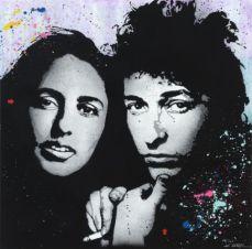 Jef Aerosol, Bob Dylan et Joan Baez, 100 x 100 cm