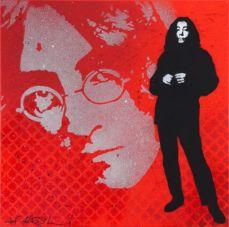 Jef Aerosol, John lennon et Yoko Ono, 50 x 50 cm