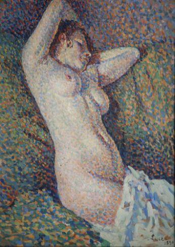 Maximilien Luce, Femme nue aux bras derrière la tête, 1890
