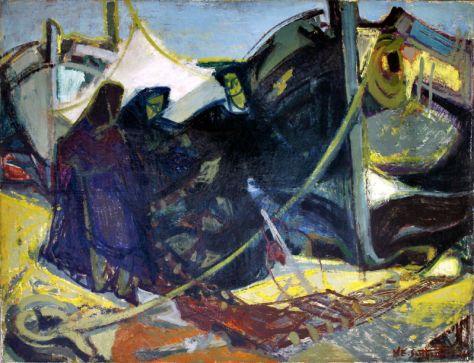 Maurice-Élie Sarthou, Remmailleuse de filets à Collioure, 1948-1949, Huile sur toile, 89 x 116 cm, Collection famille Sutton-Sarthou © François Devos-Paris © ADAGP Paris 2014