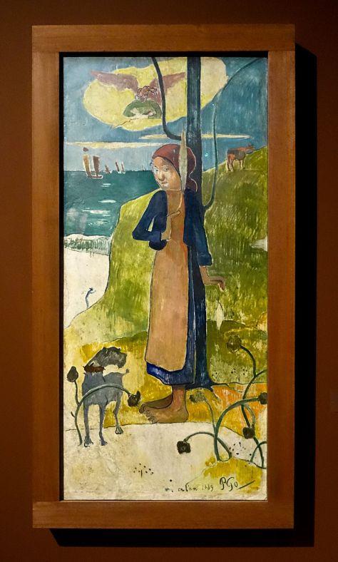 Paul Gauguin, Jeune Bretonne filant, 1889. Huile sur platre. 135 x 62 cm. Van Gogh Museum, Amsterdam.